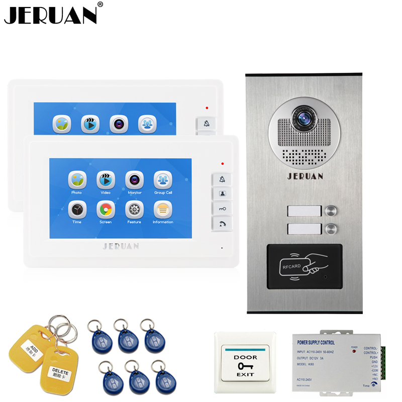 JERUAN 7 inch Video Doorbell Record Intercom system RFID Access Entry Security Kit For 2 Apartment Camera to 2 Household monitor jeruan apartment 4 3 video door phone intercom system kit 2 monitor hd camera rfid entry access control 2 remote control