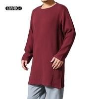 Original High Quality Men T Shirt Autumn Cotton Linen Long Sleeve Casual Loose Tshirt Male Hem