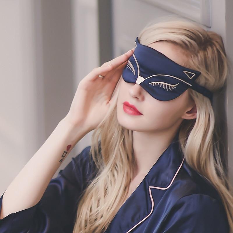 Duplex breathable shading aids sleep eye mask cute cartoon little fox female Silk embroidery goggles