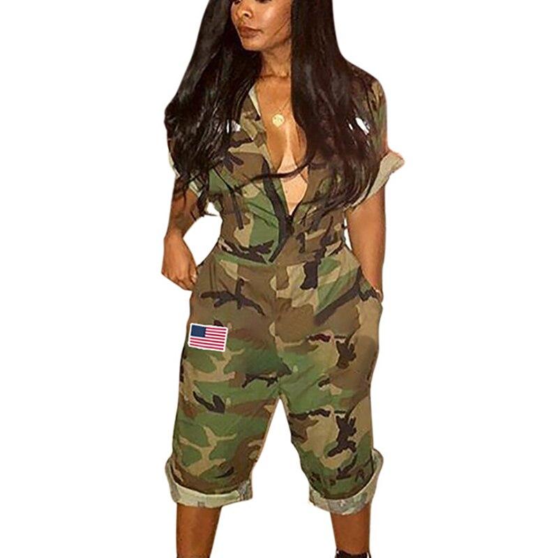 Новый Дизайн 2018 военный Стиль Для женщин комбинезон камуфляж карман на молнии до середины икры Длина Bodycon v-образным вырезом комбинезон женс... ...