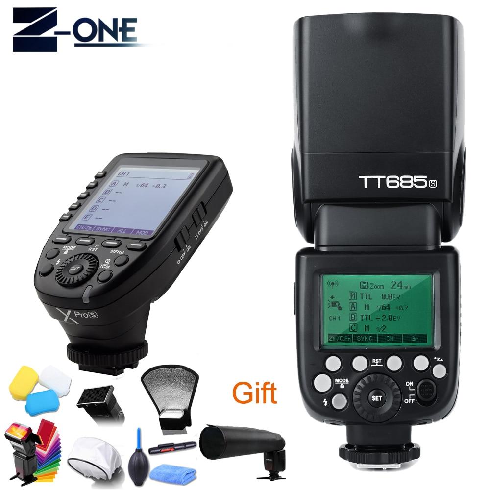 цена Godox TT685s tt685 Speedlite Flash GN60 +Xpro-s Cameras Transmitter Triggers High Speed 1/8000s For Sony Camera+Free Gift
