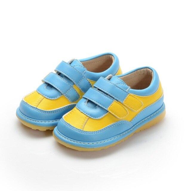 Два Strapes Синий Желтый Baby Boy Squeaky Обувь Нескользящим Малышей Обувь Размер 3456789 Бесплатная Доставка