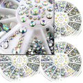 New Arrival 1 Wheel 5 Sizes White Multicolor DIY Nail Art Tip 3D Decor Glitter Rhinestones