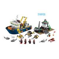 Şehir serisi Derin deniz keşif gemi yapı taşı mini Diver Ekip Köpekbalığı ahtapot lepins tuğla 60095 eğitici oyuncaklar rakamlar