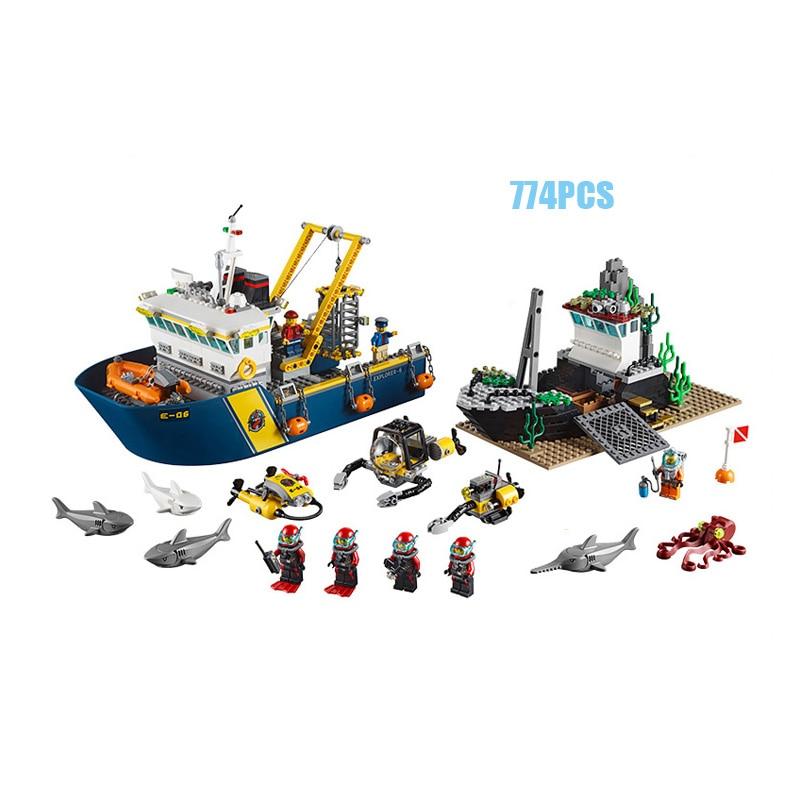 City series Deep-sea exploration ship building block mini Diver Crew Shark octopus figures lepins bricks 60095 educational toys