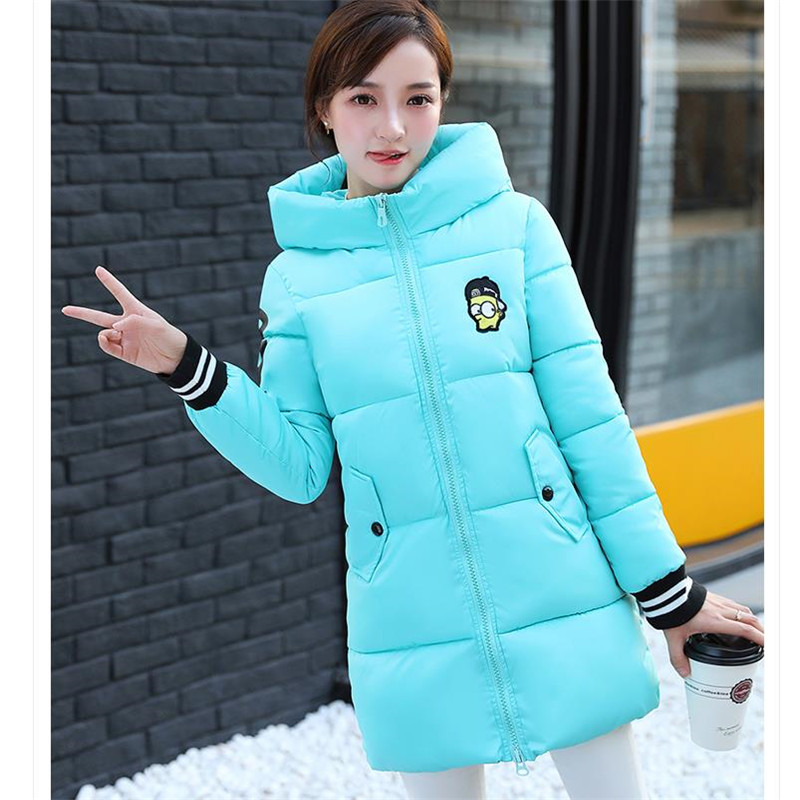 Hooded Parka 2017 Women Fashion Winter Jacket Coat  Warm Clothes Black Pink Blue Red nike alliance parka 550 hooded