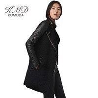 KMD KOMODA Winter Herbst Mäntel Schwarz PU Hülse Kontrast Stehkragen Mantel Reißverschluss Graben Outwear Für Frauen