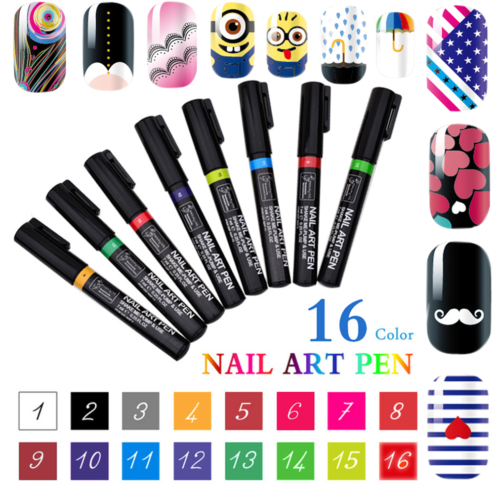16 Colors 3D Nail Art Pen DIY paint Decoration Nail Polish Pen Set ...