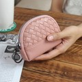 2017 Moda Frete Grátis Multi Cores Knitting Mulheres Bonito Mini D-em forma de Moeda Bolsa de couro PU Carteiras para Senhoras Saco de moeda
