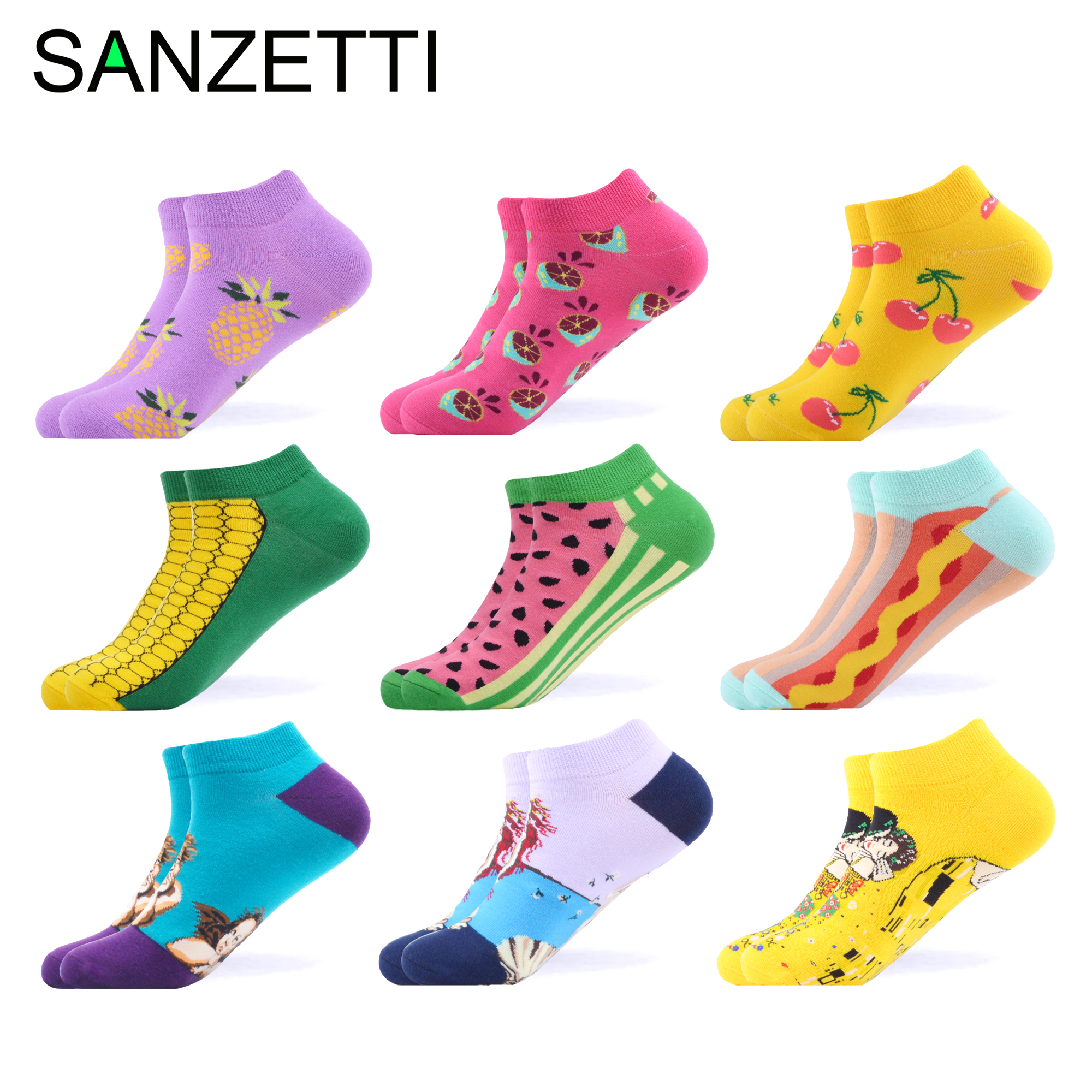 SANZETTI 9 Pairs/Lot Summer Women Casual Ankle Socks Novelty Colorful Ladies Combed Cotton Short Socks Happy Harajuku Boat Socks
