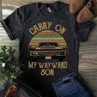 Supernatural Vintage T Shirt Carry On My Wayward Son Dark Heather Men Made In Us