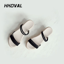 HKOVAL Women Sandals Fashion Casual Female Shoes Summer Wedges Comfortable Ladies Woman Shoes Sweet Soild Sandals beyarne summer sandals female handmade genuine leather women casual comfortable woman shoes sandals women summer shoes