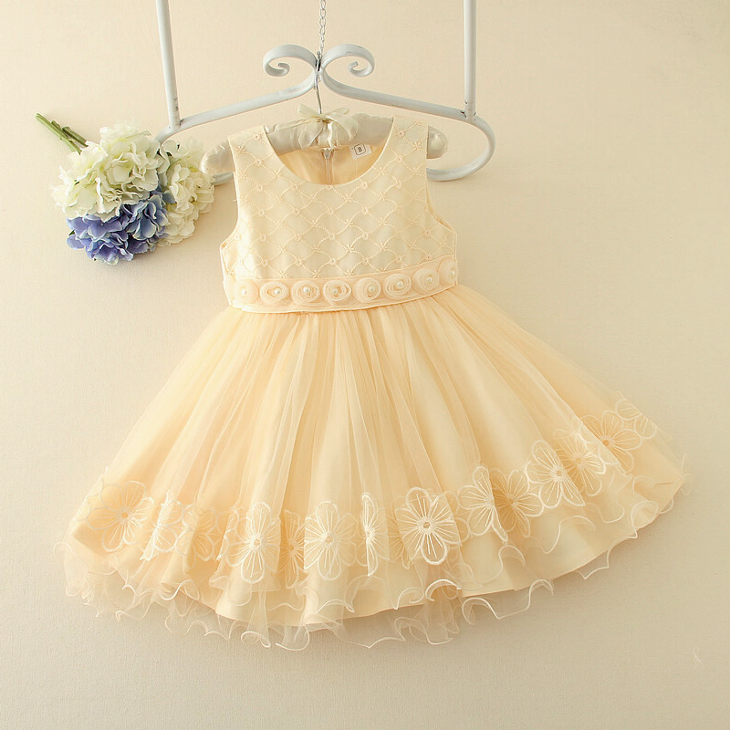 Wonderful Color Scoop Sleeveless Hand Made   Flower   Applique And Pearls Beaded   Flower     Girls     Dresses   Little   Girl   Party   Dresses