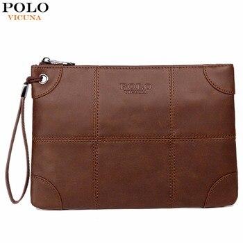 Billetera de mano en cuero para hombre VICUNA POLO con correa nuevo bolso de mano de gran tamaño alta calidad con bolsillo trasero