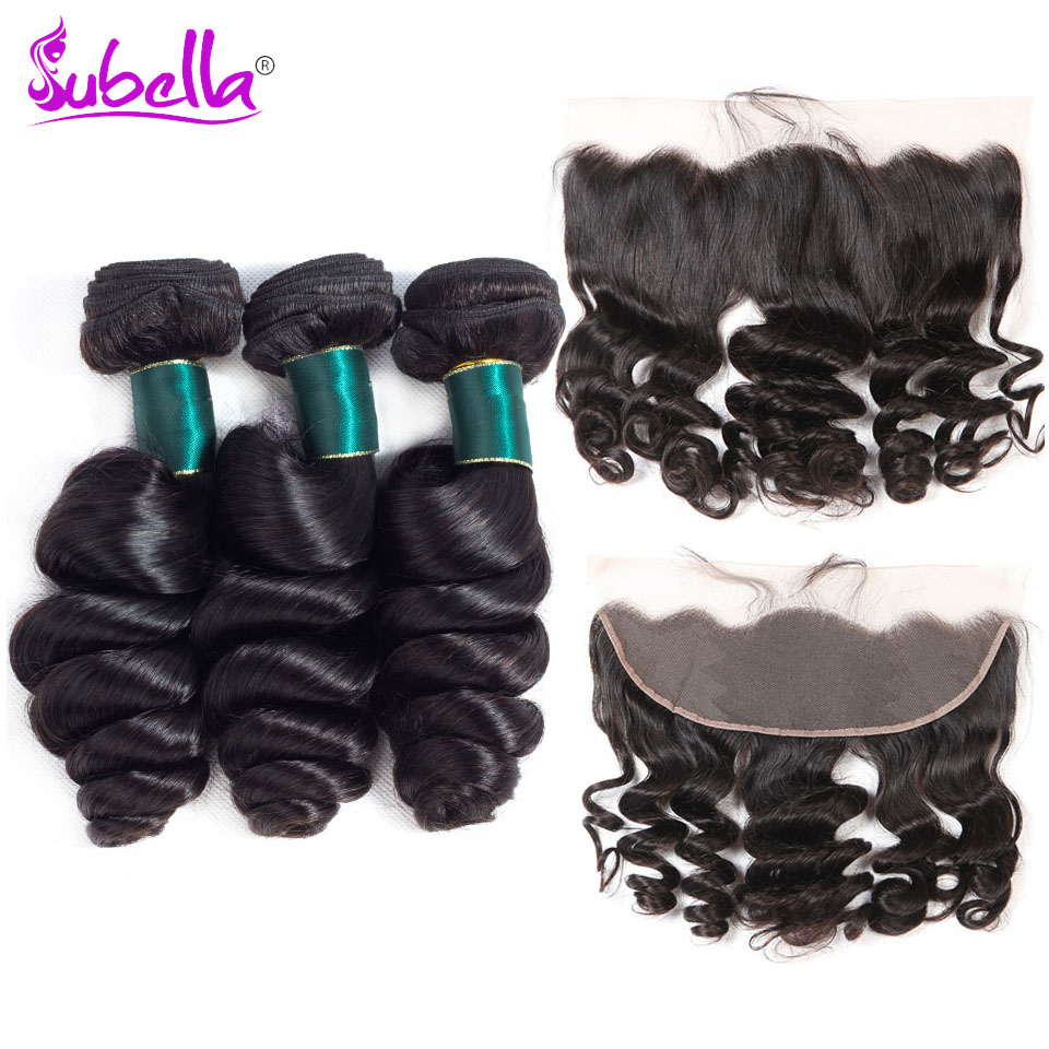 Subella Peruvian Hair Loose Wave Hair 3 Bundles With Frontal Human Hair Weave Bundles With Lace Frontal Closure Free Part