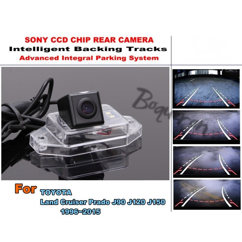 For TOYOTA Land Cruiser Prado J90 J120 J150 1996~2015 Smart Tracks Chip Camera HD CCD Intelligent Dynamic Rear View Camera smart tracks chip camera for renault megane 3 iii 2008 2015 hd ccd intelligent dynamic parking car rear view camera