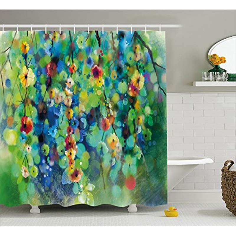 Vixm Watercolor Flower Home Decor Shower Curtain Vibrant Blooms Clusters down from Branch Spring Season Fabric Bath Curtains