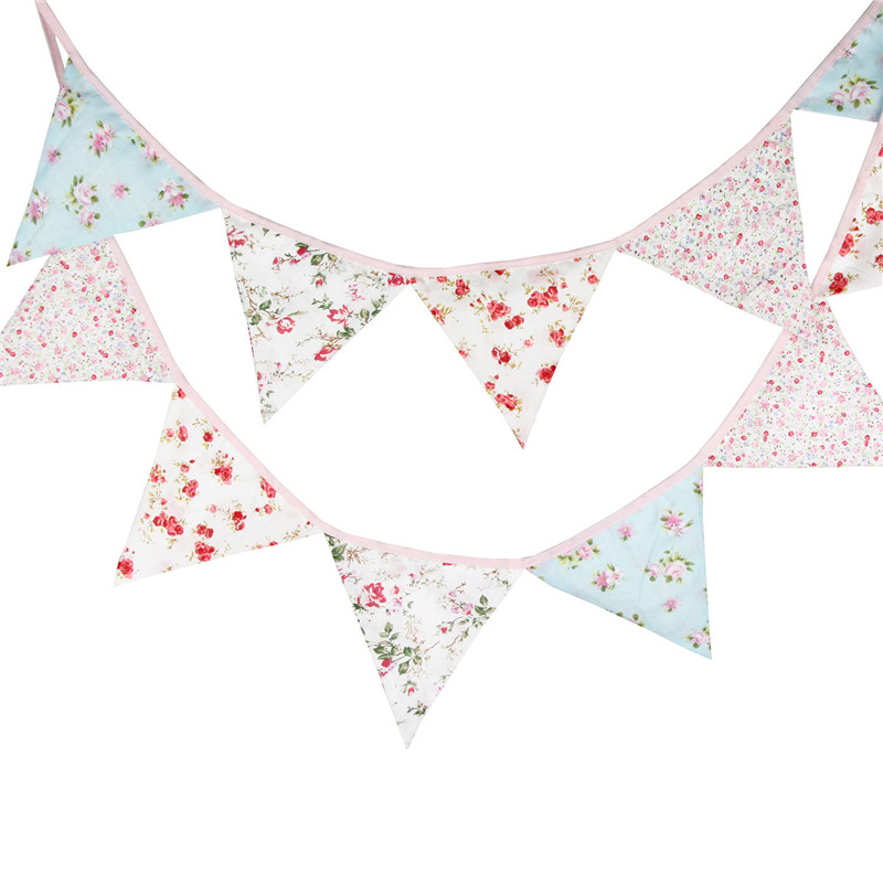 12 Flags 3.2m Pink Vintage Flowers Cotton Fabric Bunting Pennant Flag Banner Garland Wedding/Baby Birthday Party DIY Decoration