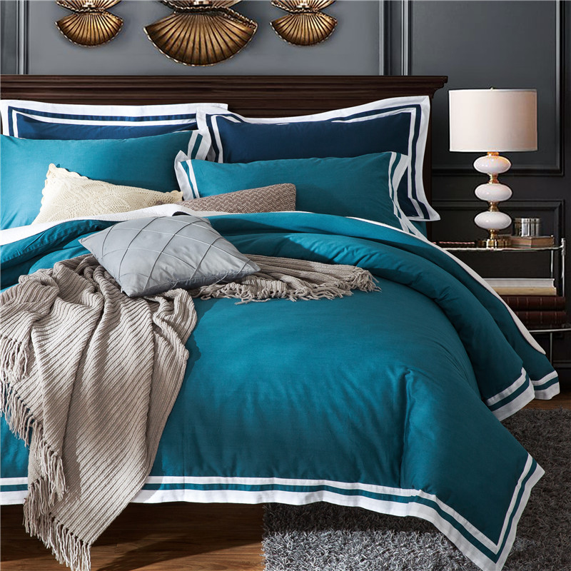 New Bedding Set Twin Queen King Size white edge Bed Set for girls boys gray purple Duvet Cover Home Bedclothes