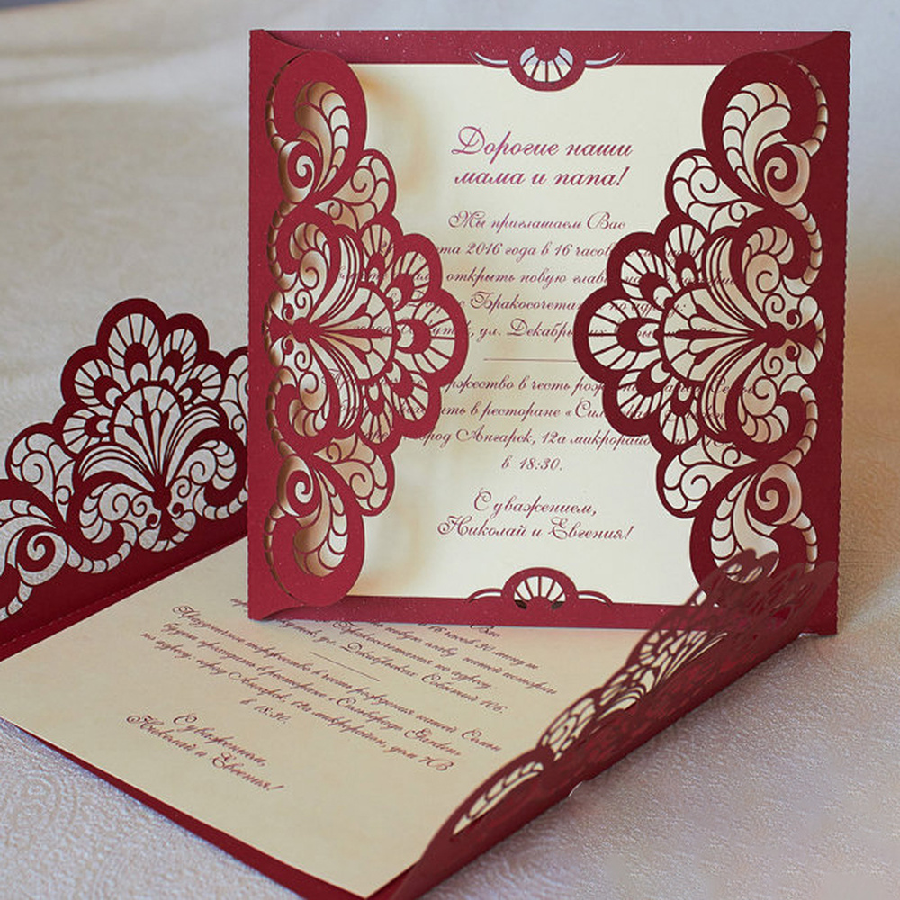 Where To Buy Wedding Invitation Paper: 50 KIts Fold Flower RED Invite Cards Birthday Invitations