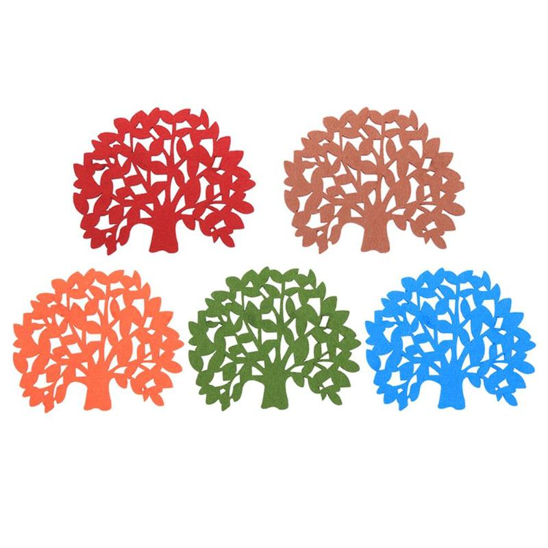 Tree Shaped 5Pcs Colorful Felt Coaster Cup Mat Pad for Bowl Mug Glass Plate Drink Accessories