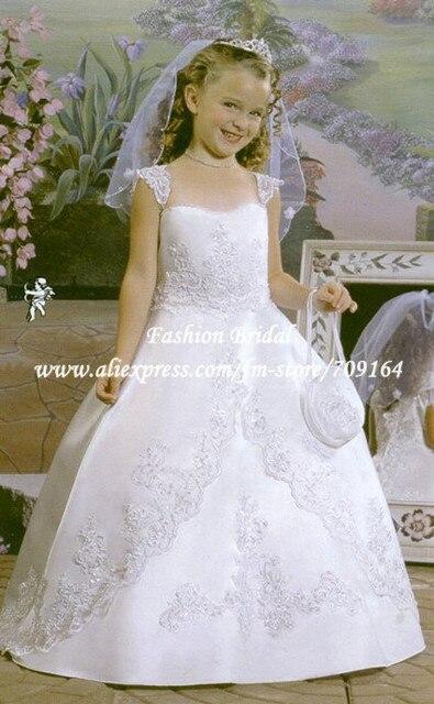 Vestidos де comunion Принцессы Бальное Платье Cap Рукавом Бисером White Satin Первое Причастие Платье Подгонять Размер