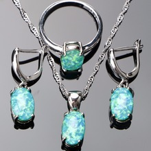 74375bbf2 Opal Stone Silver Jewelry Sets For Women Wedding Silver 925 Jewelry With Drop  Earrings Necklaces&Pendants Ring