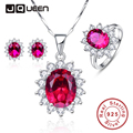 Red Ruby Sun Flower 925 Sterling Earrings Silver  Necklace Women Bijoux 2016 New Trendy Jewelry Ring Bridal Fine Jewelry Sets