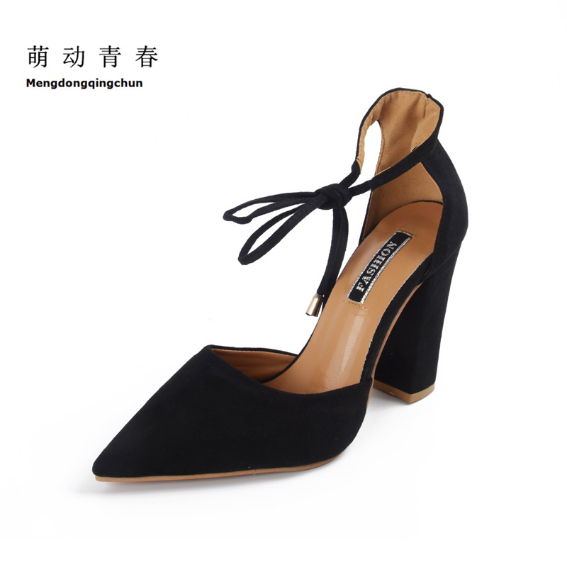 цена на Plus Size Women Pumps 2017 Fashion Women Shoes Lace up High Heels Pointed Toe Chunky Heel Ankle Strap Heels Sapatos