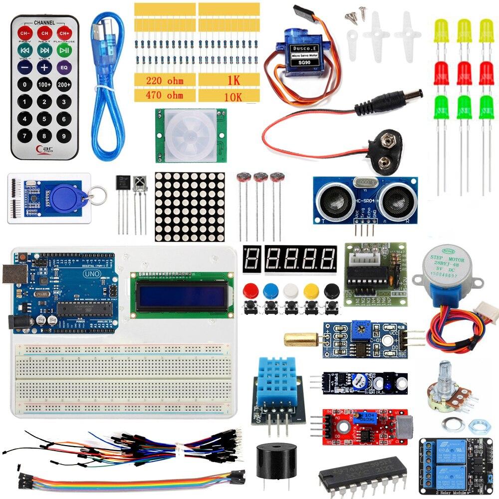 Nouvelle Mise À Niveau Version Starter Kit RFID apprendre Suite Kit LCD 1602 pour Arduino UNO R3 Servo Relais Capteur Module Avec la Boîte de Détail