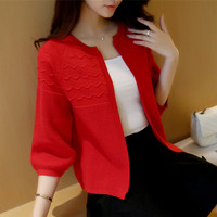 2016 New Korean Autumn Candy Colors Sweater Cardigans Women Slim Round Neck Short Paragraph Coats
