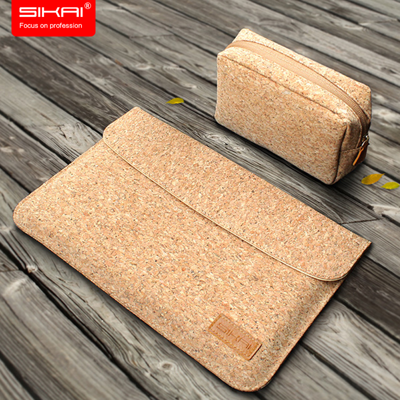 SIKAI Cork Sleeve Pouch Bag For MacBook Air 11 12 13inch Wooden Soft Leather Pouch For Macbook Case For MacBook Free Charger Bag