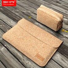 SIKAI الفلين كم الحقيبة شنطة لحمل Macbook الهواء 11 12 13 بوصة خشبية لينة جلد الحقيبة ل ماك بوك جراب للماك بوك