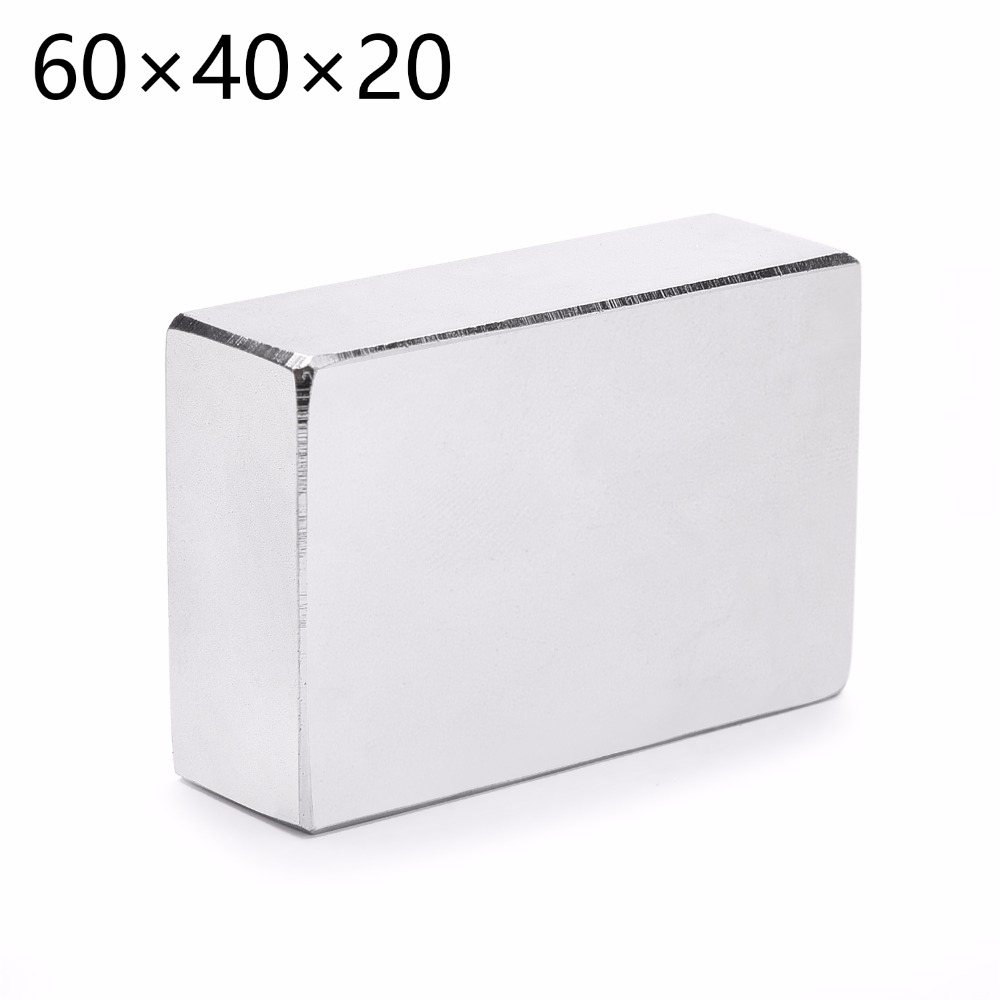 Very Strong  1PCS 60mm X 40mm X 20mm Cuboid Rare Earth Big Neodymium Block Magnet Grade High Quality  60*40*20 1pcs 60x40x3 60mm 40mm 3mm magnets block neodymium n50 rare earth super strong fridge magnet 60 40 3 60mm x 40mm x 3mm