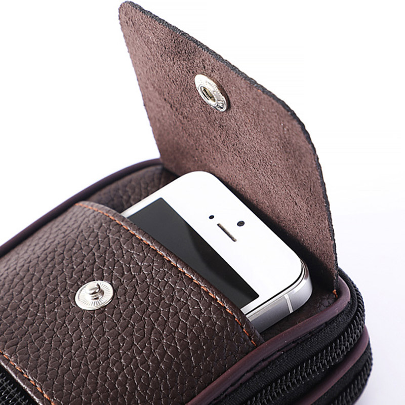Men Wasit Bag PU Leather Zipper Card Holder Multi Pouch For Outdoor Travel Camping Hiking Cycling New