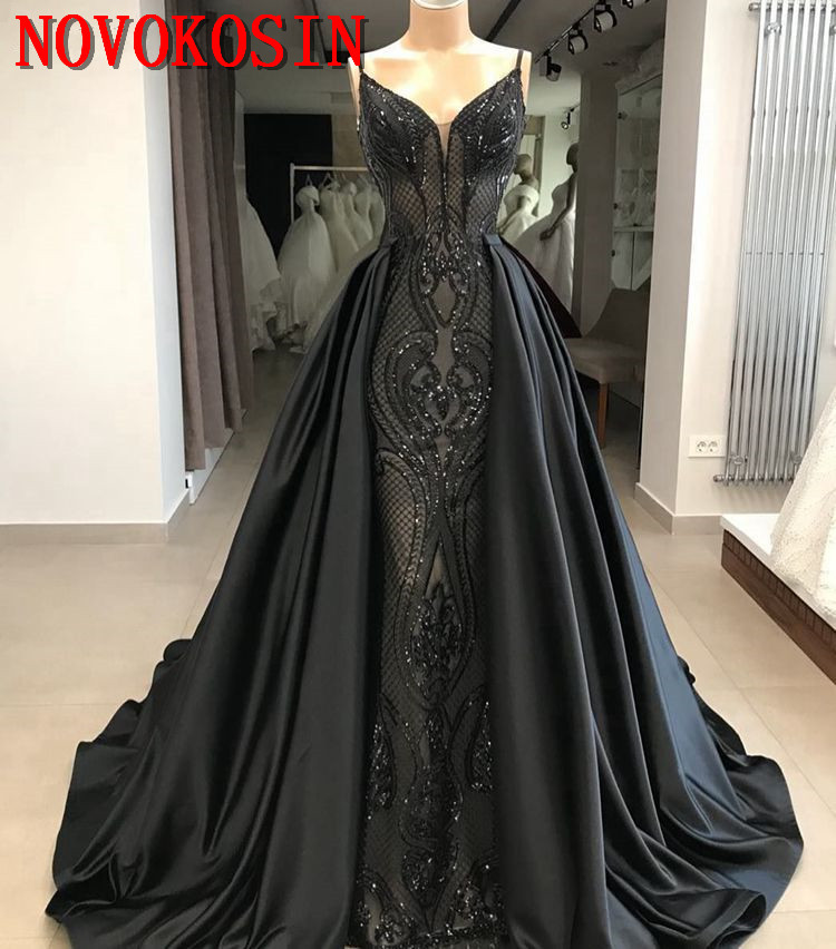 2019 réel échantillon détachable Train sirène robe de soirée Spaghetti sangle Sequin dentelle formelle arabe robe de soirée robe de soirée
