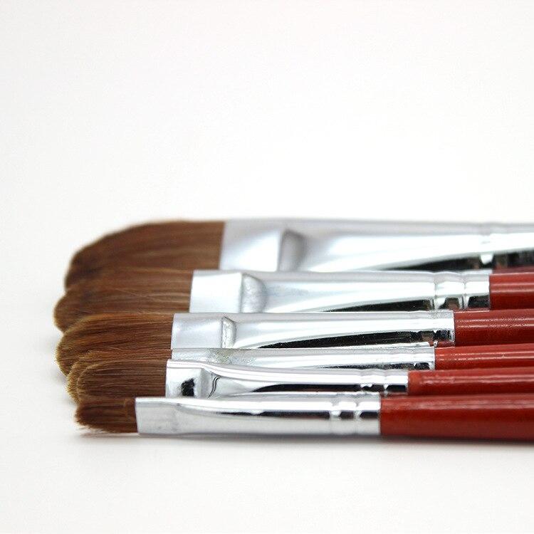6pcs/Set Oil Paint Brush Artists Practice Weasel Hair Wood Rod Gouache Brush Acrylics Paints Art Supplies Red Paintbrush