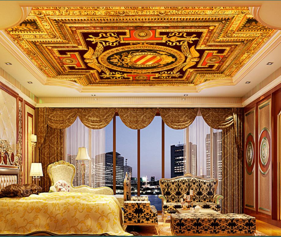 Luxury European Ceiling For Modern Home: Luxury European Style Ceiling 3D Wall Paper Living Room