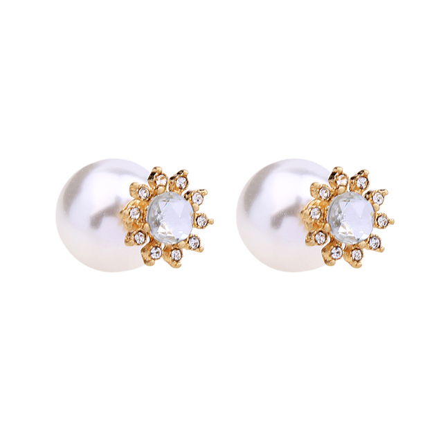 a494d6f34 Convertible Crystal Flower Big Imitation Pearl Earrings Studs Women  Temperament Double Side Wedding Earrings Jackets