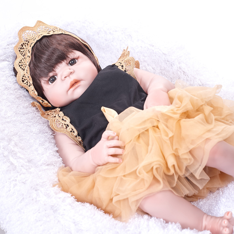 55cm Soft Full Silicone Reborn Baby Newborn Princess Girl Doll for Kids Toy Christmas Birthday Xmas New Year Gift недорого