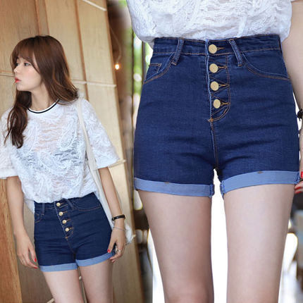 2019 College Winds Fashion Feminino 4 Buttons High Waist Retro Solid Color Slim Elastic Short Jeans Blue Fitness Denim Shorts