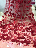2019 new 5yards/bag xiu02 dark red 3d flower embroidery tulle mesh lace for sawing bridal wedding dress