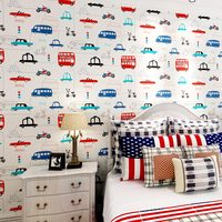 Cartoon Transportation Car Non woven Wall Paper For Kids Rooms Living Room Sofa Background Wall Decals Home Decoration Wallpaper