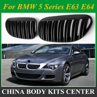 1 Pair for BMW 6 Series E63 E64 2004-2010 Gloss Matt ABS Black Car Style Front single/Kidney Double Slat Line Front Racing Grill