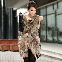 2016 export women real knitted rabbit fur vest with hood raccoon fur collar belt fur cap rabbit hair long sleeveless coat CW2724