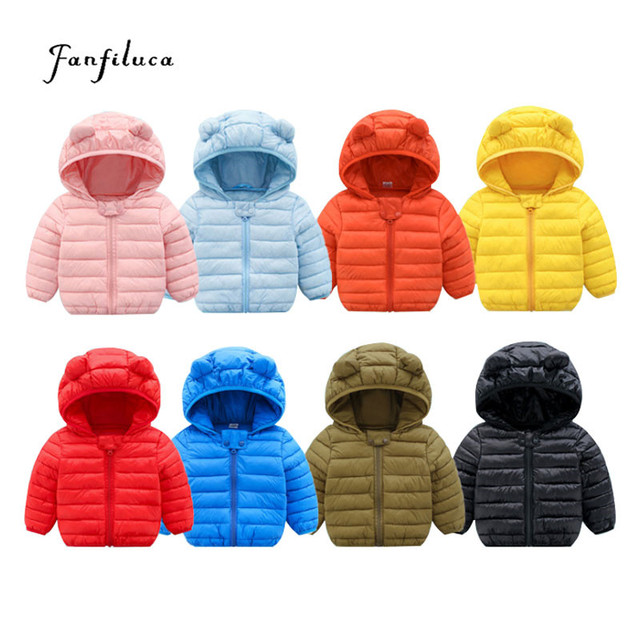 Cheap Fanfiluca Toddler Coat Black Hooded Warm Winter Coat Girls Cotton Waistcoat Infant For Baby Boy Jacket Kids Parka Outerwear