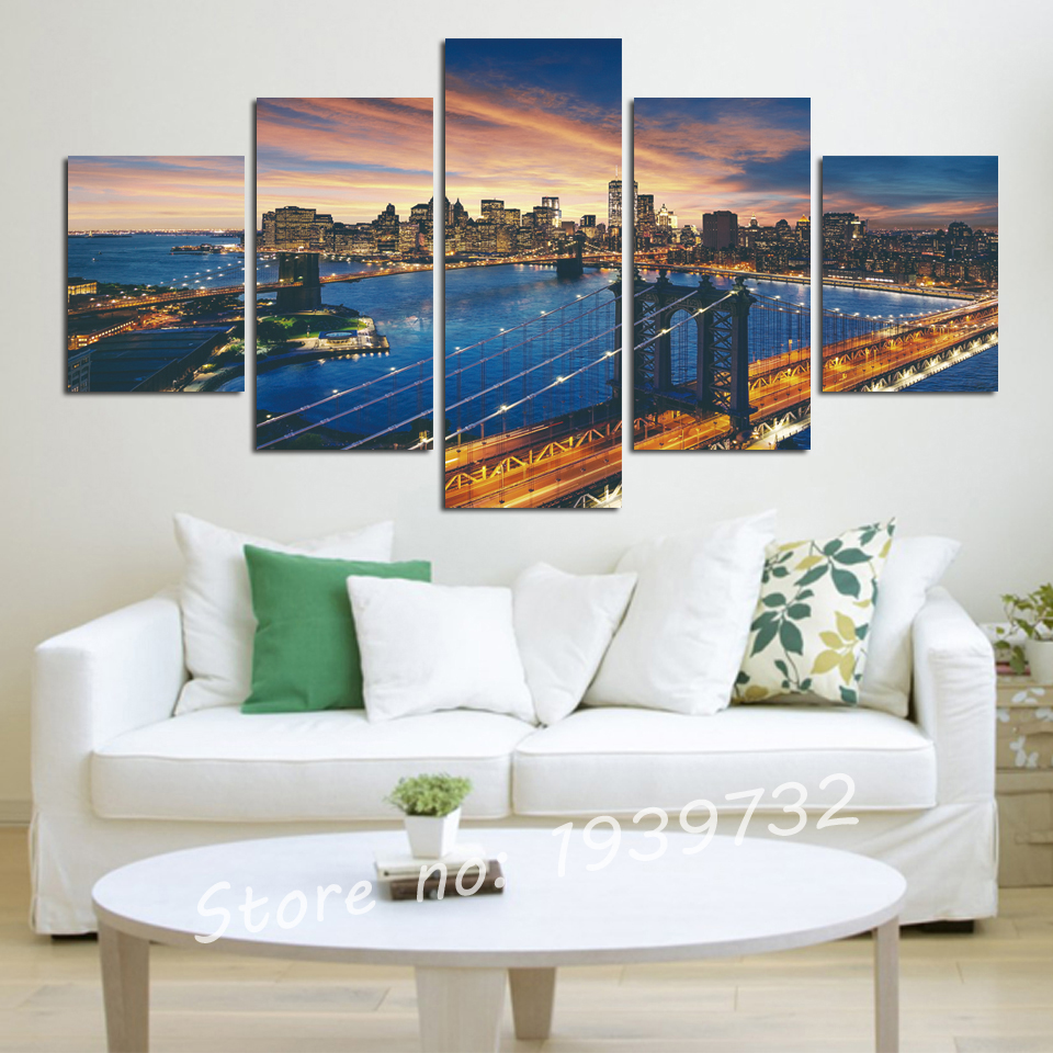 5 panels No Frame The City Landscape Home Decor Picture Art HD Print Canvas Wall for living room Painting New Arrivals in Painting Calligraphy from Home Garden