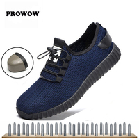 Men work shoes anti piercing steel toe shoes one flying woven breathable safety shoes comfortable inner wear rubber 37 45 Prowow
