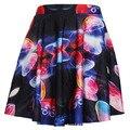 Las nuevas Mujeres del Verano 2015 Imperio de Gasa Color de Contraste de Impresión Digital de La Falda Corta Mini Faldas Faldas Delgadas Mujeres Ropa Sexy Hot