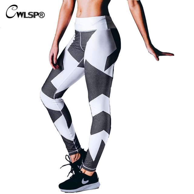 2017 Fashion Women Leggings Sportswear High Waist Elastic Sexy Skinny Geometric Print Pants legins fitness femme QA1614